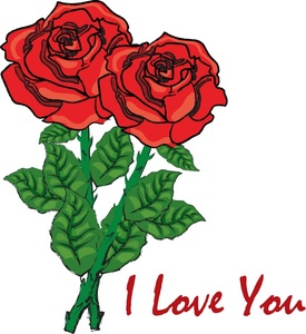 I Love You Red Rose Flower.