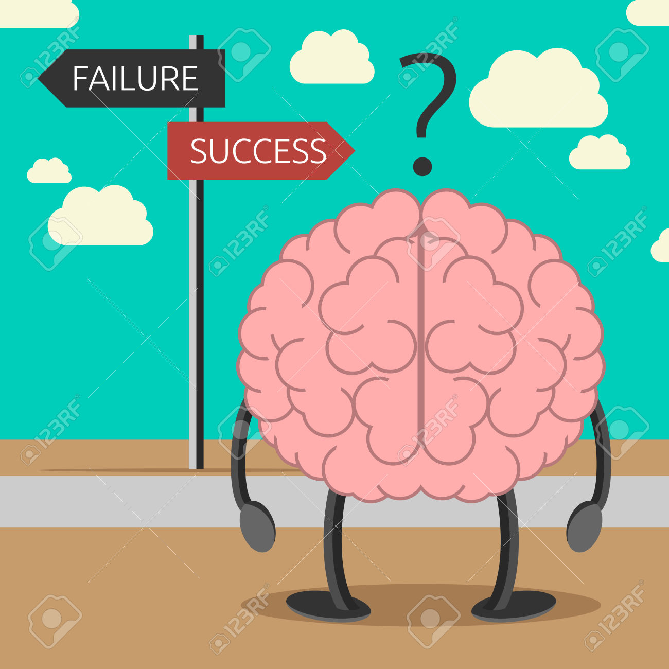 Brain Character Choosing Its Way Between Failure And Success.