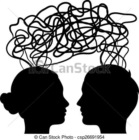 Clipart Vector of man and woman thinking on same way, idea concept.