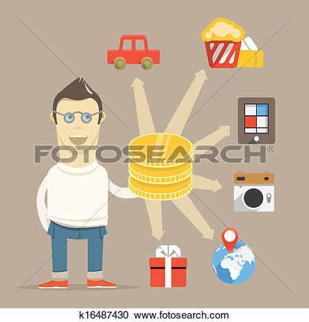 Clipart of The way to spend money. Young man thinking k16487430.