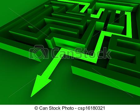 Clip Art of Exit Maze Showing Puzzle Way Out Strategy csp16180321.