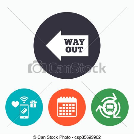 Clip Art Vector of Way out left sign icon. Arrow symbol. Mobile.