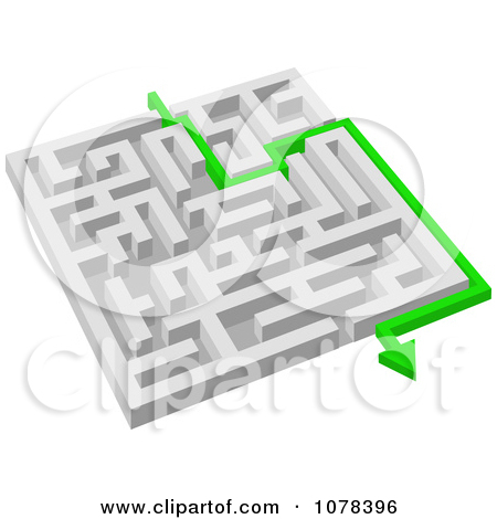 Clipart 3d White Maze With A Green Arrow Leading To The Way Out.