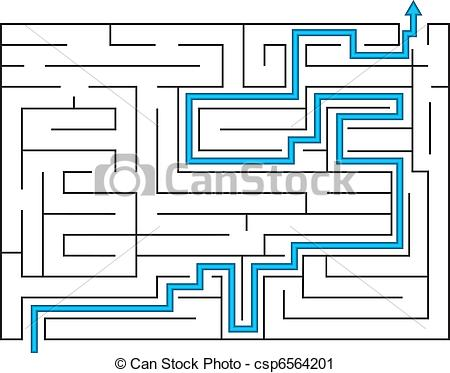 Vector Clip Art of Labyrinth with way out.
