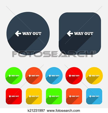 Clip Art of Way out left sign icon. Arrow symbol. k21231997.