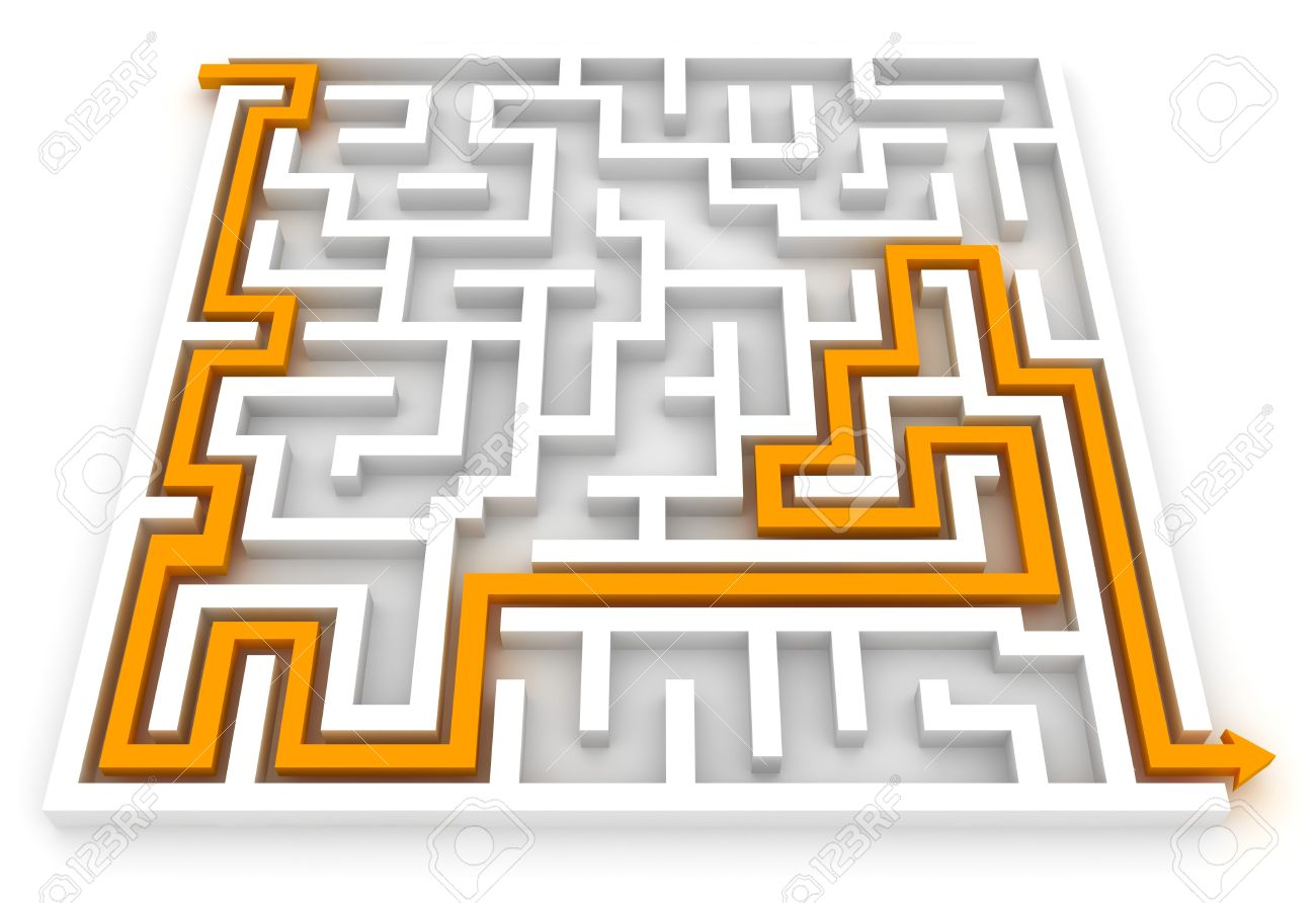 3D Illustration Of An Arrow Pointing The Way Out Of A Maze Stock.