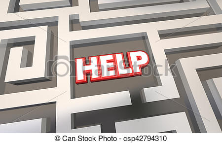 Clipart of Help Finding Direction Way Out Maze 3d Illustration.