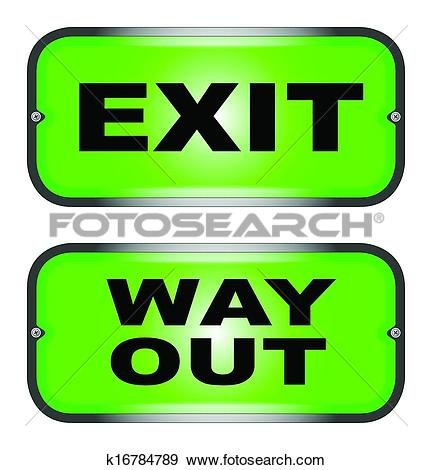 Clip Art of EXIT and WAY OUT k16784789.