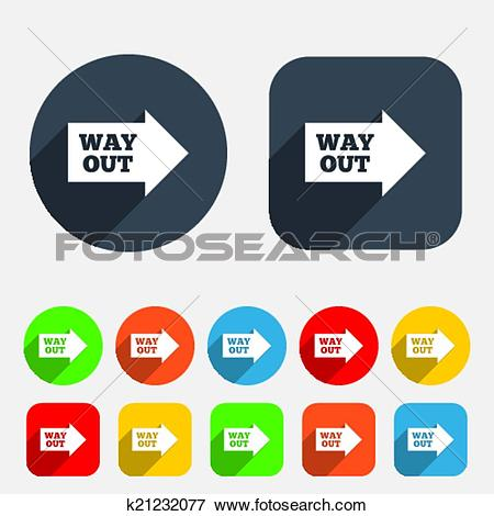 Clip Art of Way out right sign icon. Arrow symbol. k21232077.