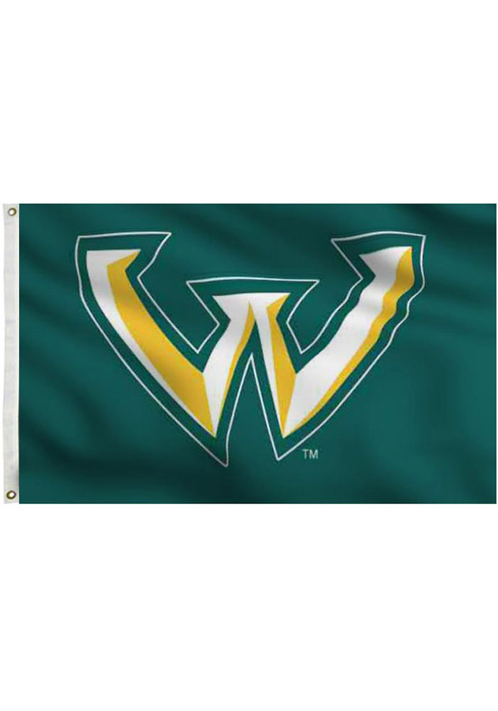 Wayne State Warriors Team Logo Green Silk Screen Grommet Flag.