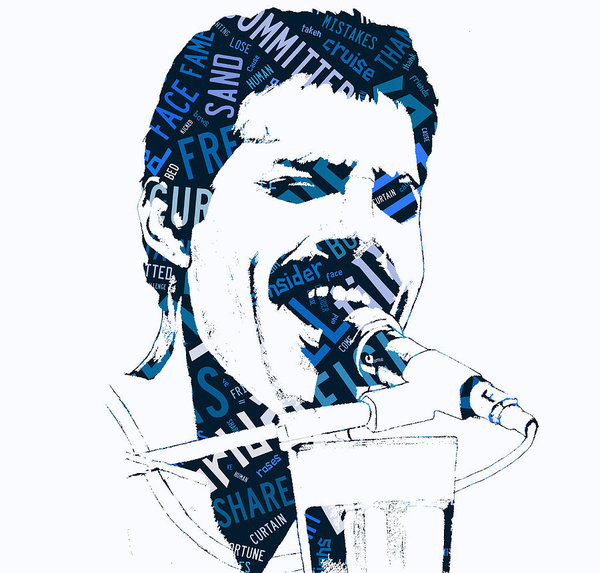 Freddie Mercury Of Queen We Are The Champions Lyrics Poster.