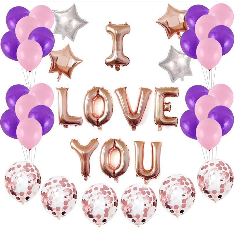 45pcs/set Valentine\'s Day I Love U Air Balloon Happy Birthday Party House  House DIY Decor Foil Confetti Balloons Wedding Festival Supply New.