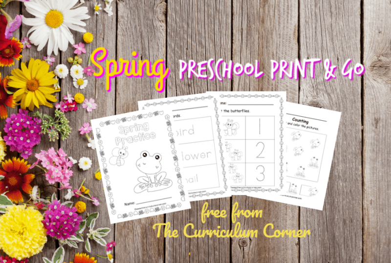 Spring Preschool Print & Go Pages.