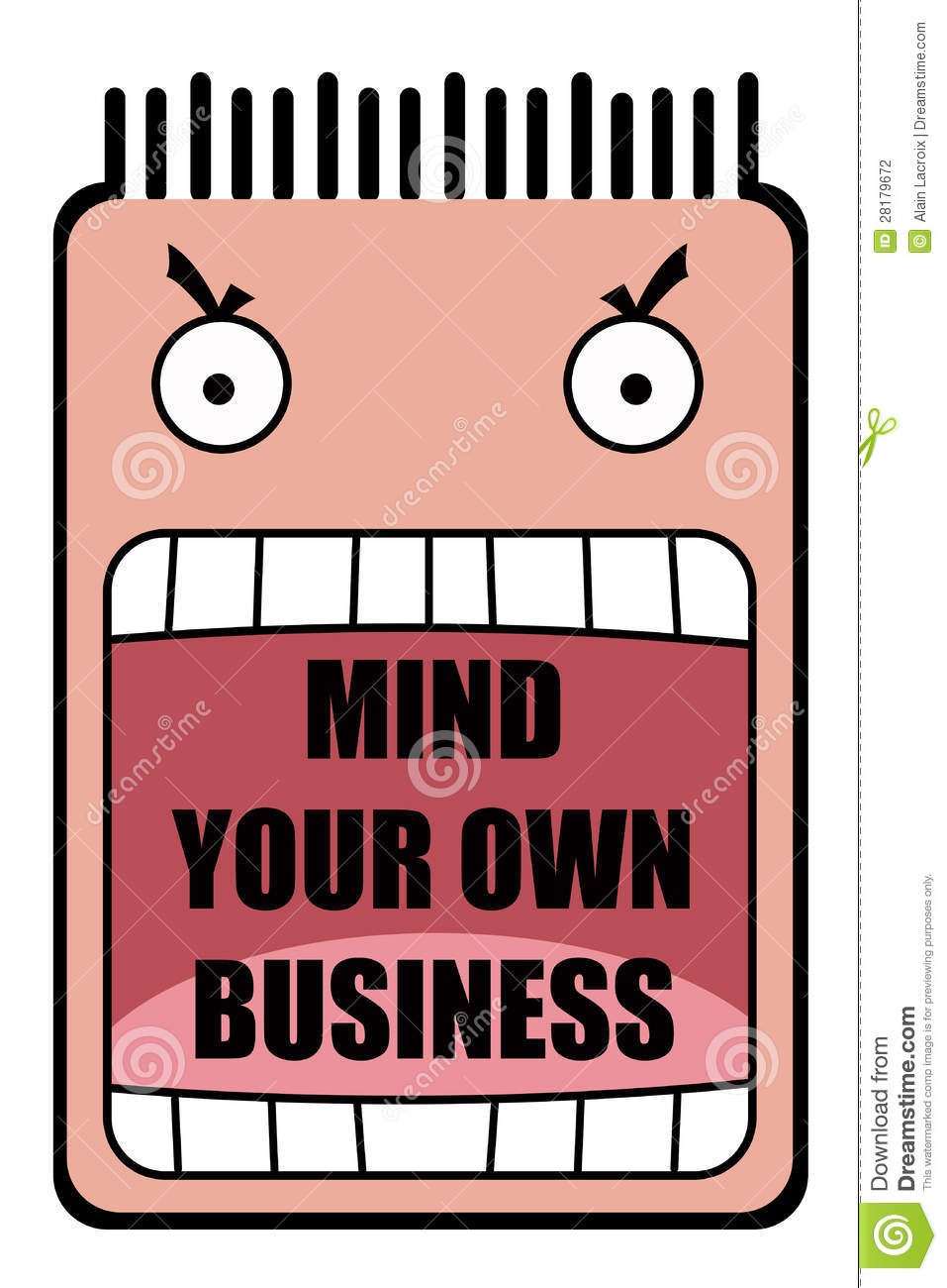 Mind Your Own Business Clipart.