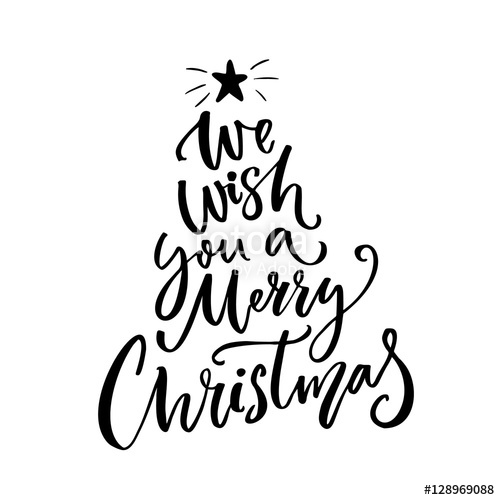 We wish you a Merry Christmas typography. Greeting card text.