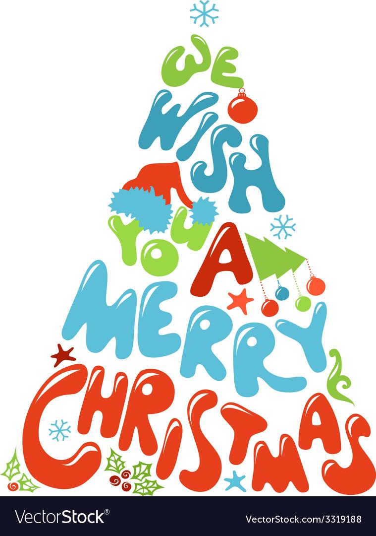 We Wish You a Merry Christmas tree design.