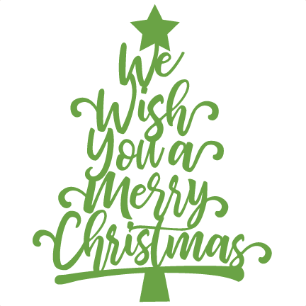 We Wish You a Merry Christmas Tree Scrapbook title svg cuts.