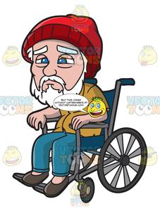 A Weak Old Man In A Wheelchair.