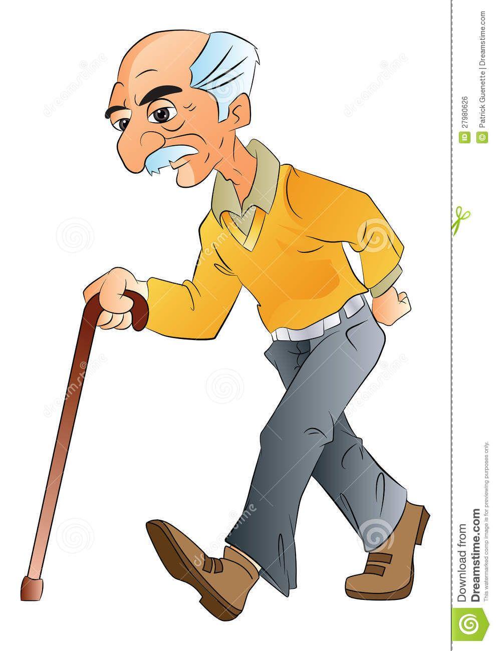 Old Man Walking, Illlustration Royalty Free Stock Image.
