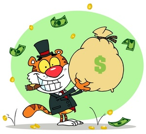 Money wealthy clipart image clip art illustration of a tiger.