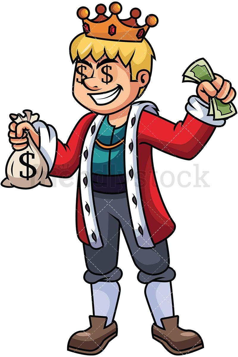 Rich King Holding Money.