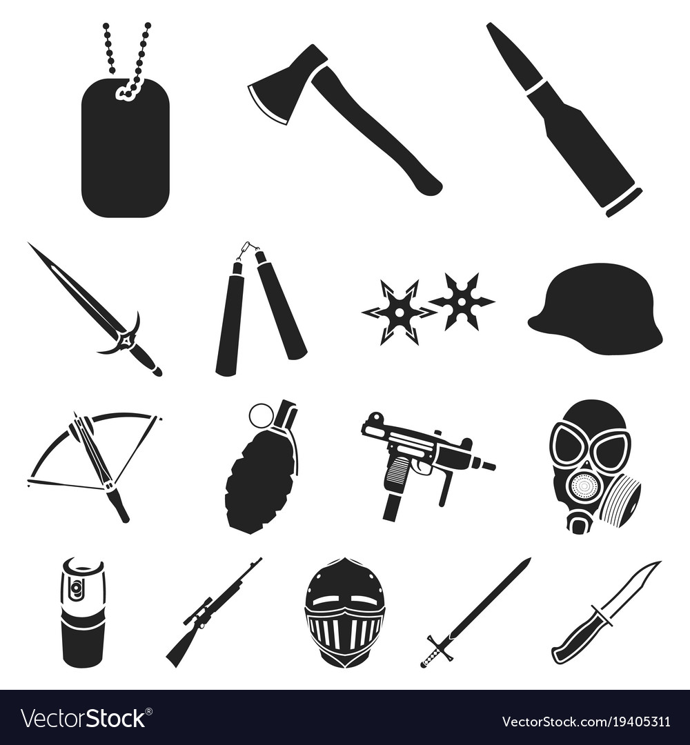 Types of weapons black icons in set collection for.
