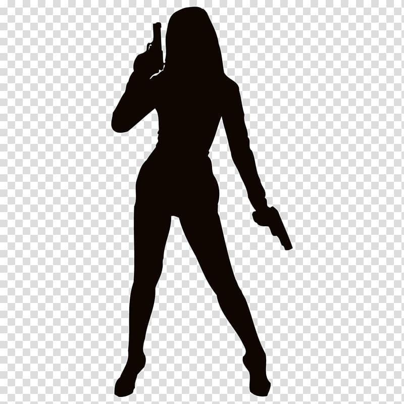 Firearm Woman Weapon Silhouette , Silhouette transparent.