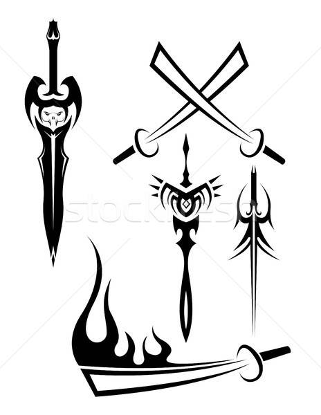 edged weapon tattoos black and white vector illustration.