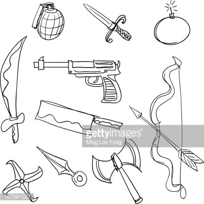 Weapon collection in black and white Clipart Image.
