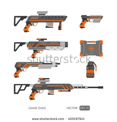 Gun Virtual Reality System Game Weapons Stock Vector 395554705.