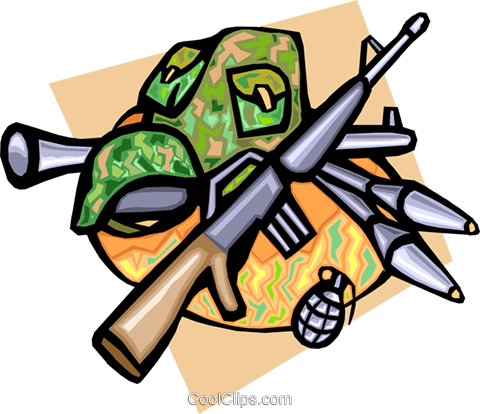 Army weapons Royalty Free Vector Clip Art illustration.