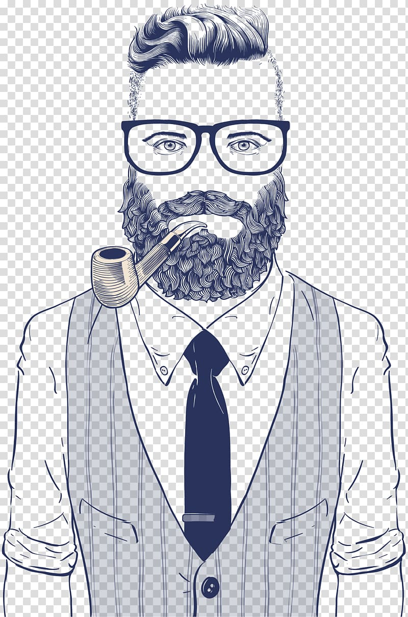 Man with tobacco pipe sketch, Hipster Drawing Retro style.