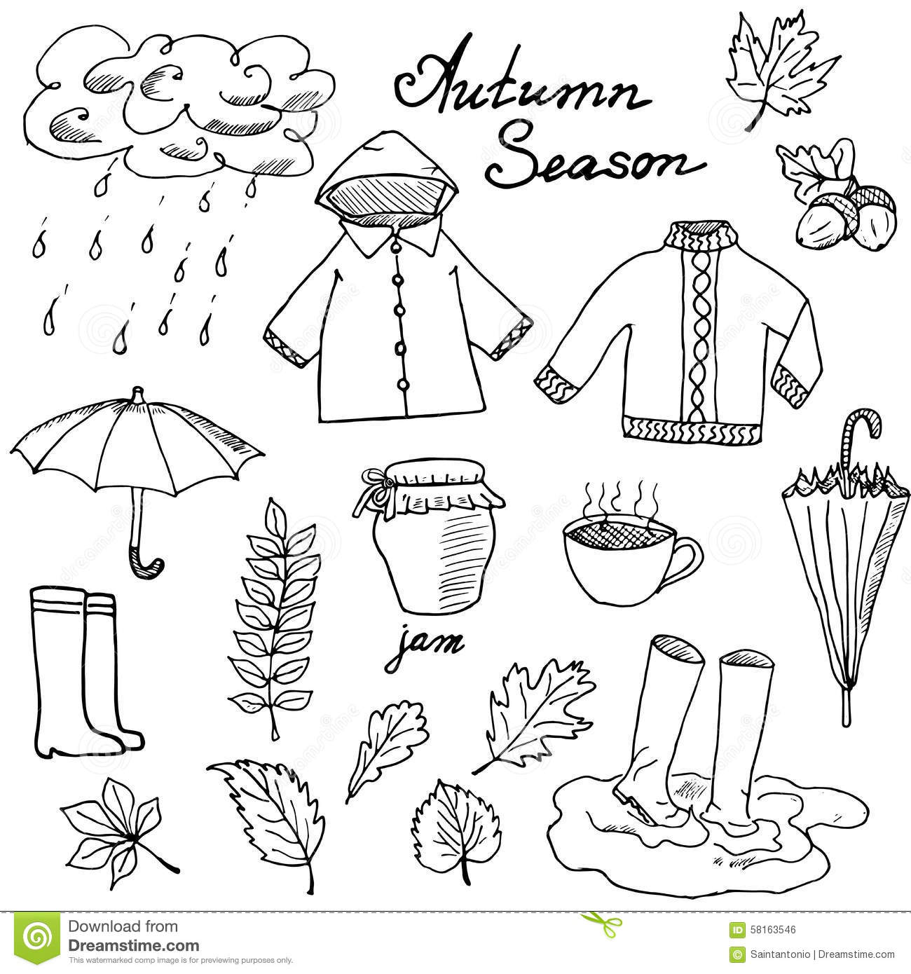 Autumn Clothes Clipart Black And White.