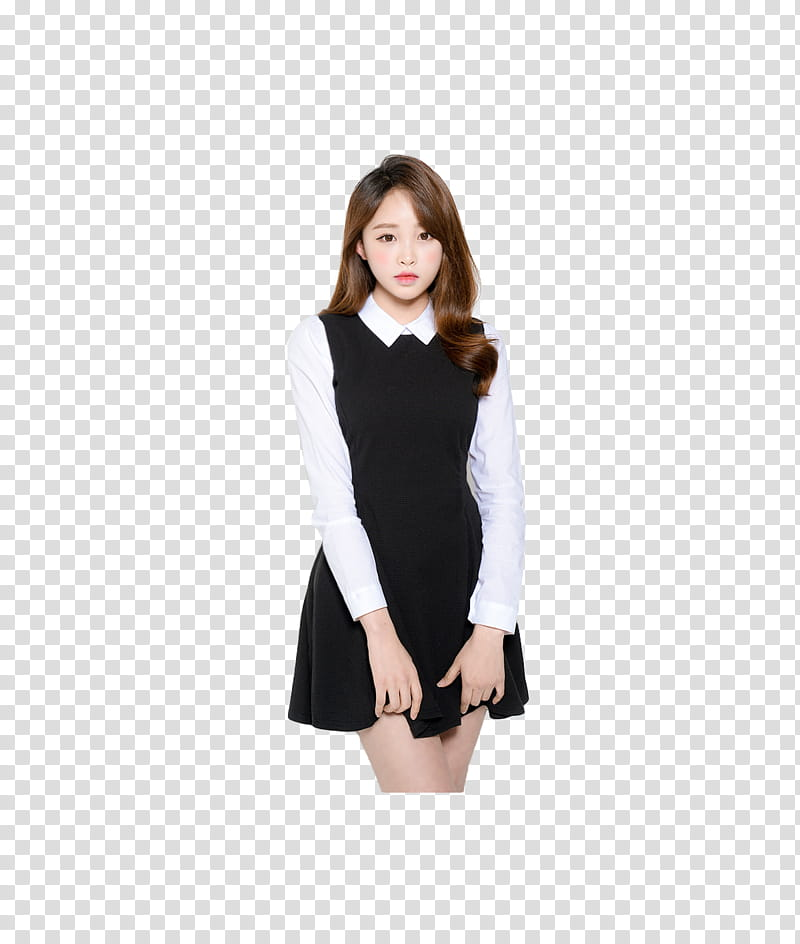 Ulzzang, woman wearing black and white dress transparent.