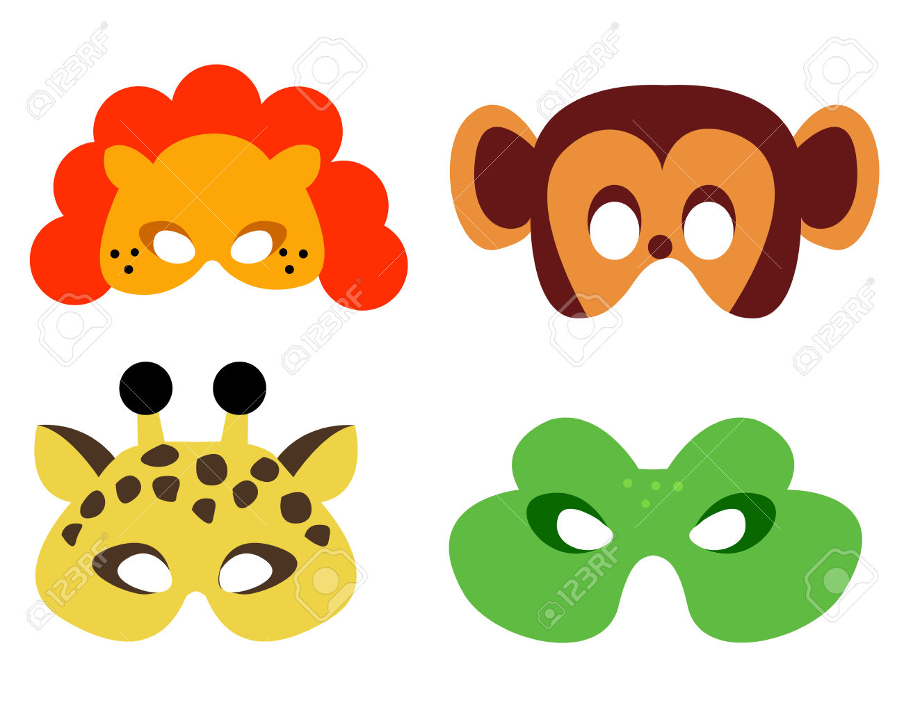 Collection Of Animal Masks With Animal Faces. Ready To Print.