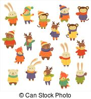 Vector Illustration of Set Animals in Warm Clothes Design Flat.