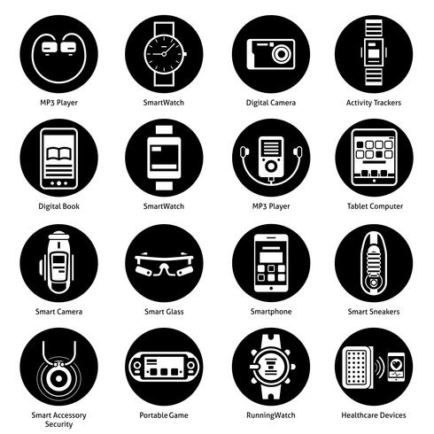 Wearable Technology Icons Black.