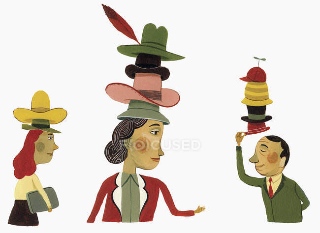Business people wearing many hats — white background, side.