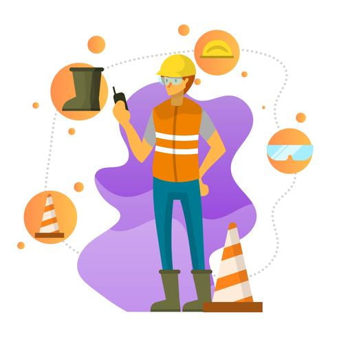 Flat Character Wears Personal Protective Equipment Vector.