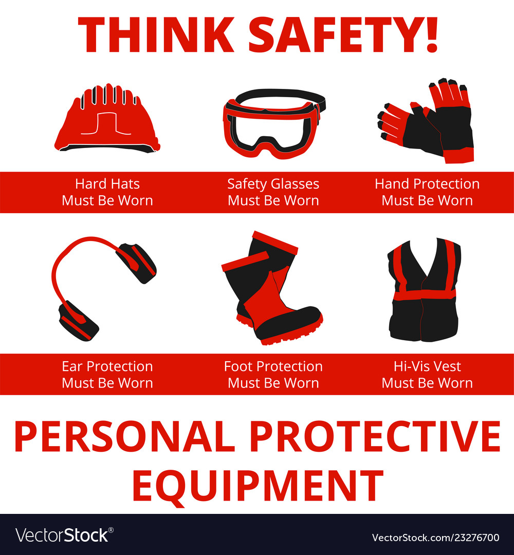 Personal protective equipment warn signs.