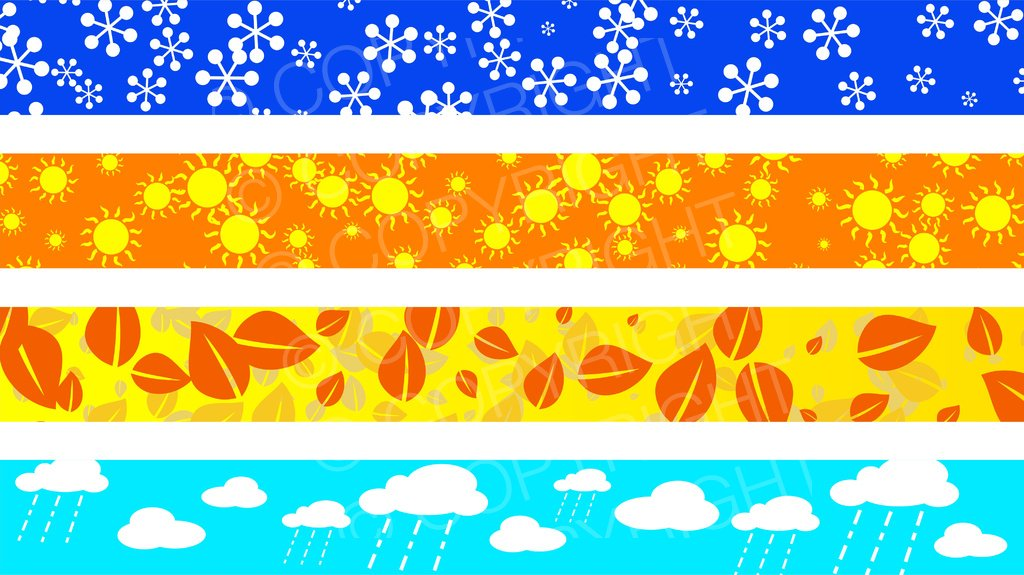 Seasonal and Weather Page Border Clip Art Set.
