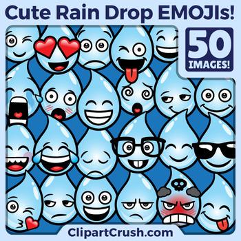 Cute Cartoon Rain Drop Emoji Clipart Faces / RainDrop Weather Clip Art  Emojis.
