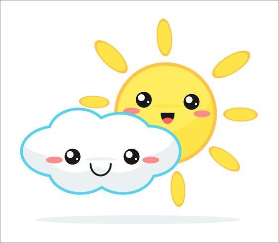 Weather forecast vector cute kawaii cartoon..
