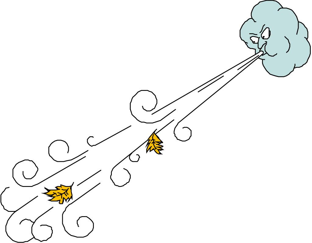 Cartoon Windy Weather Clipart.