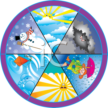 Royalty Free Clipart Image of a Weather Wheel #333101.