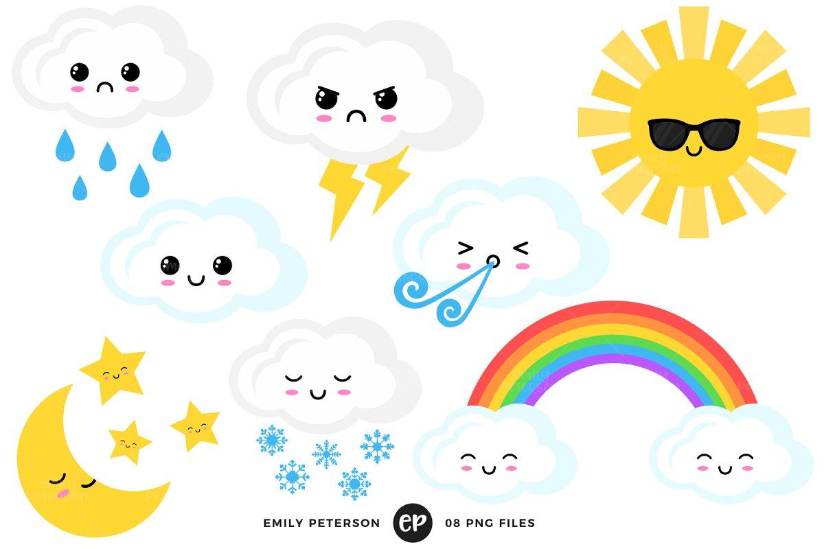 Kawaii Weather Clipart.