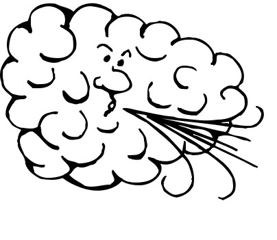 Windy weather clipart black and white 3.