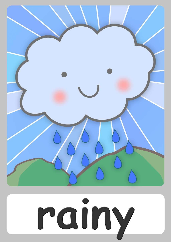 FREE weather Flashcards For Kindergarten! Teach weather.