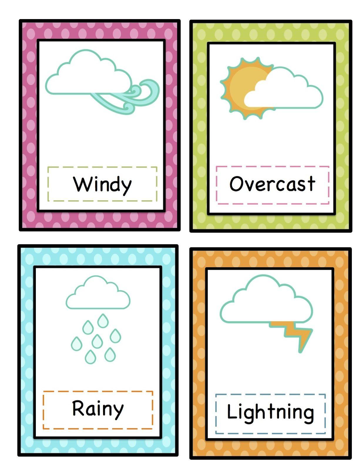 Preschool Printables: Weather Cards Printable.