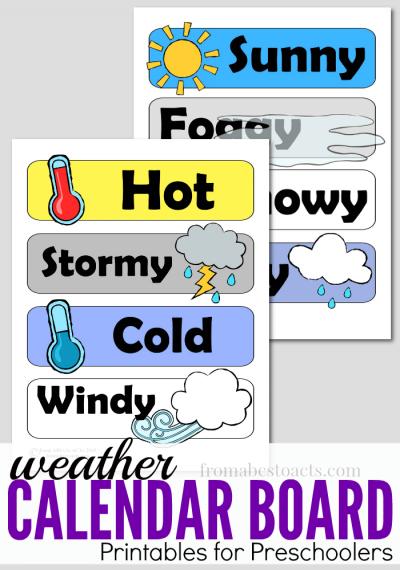 Preschool Calendar Board Weather Printables.